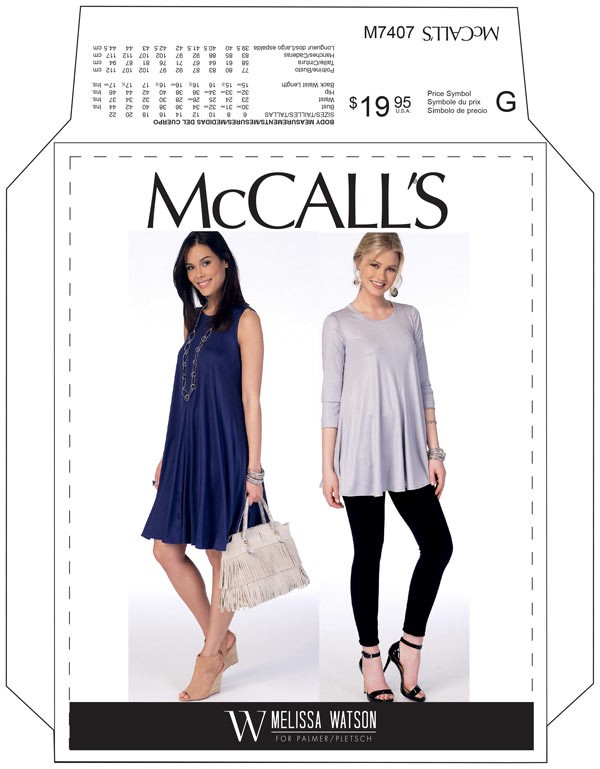 Mccalls 7407 Super Flare Knit Top And Dress Pattern
