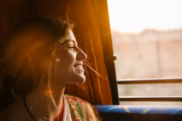 woman smiling on bus