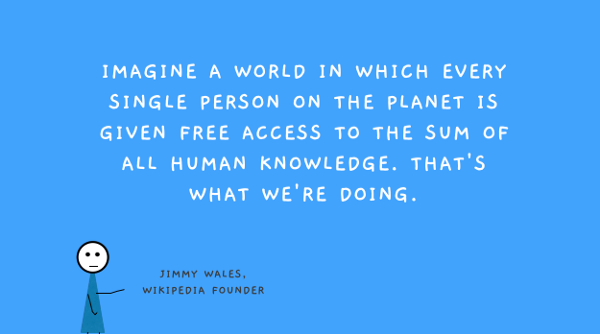 Imagine a world in which every single person on the planet is given free access to the sum of all human knowledge. - Jimmy Wales, Wikipedia