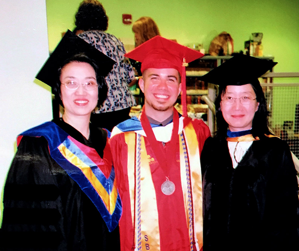 Nick Staffa with (L-R) Professor Zeng and Professor Agnes He, at SUNY Stony Brook