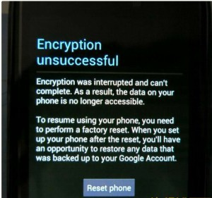 encryption unsuccessful error mtk android-phone