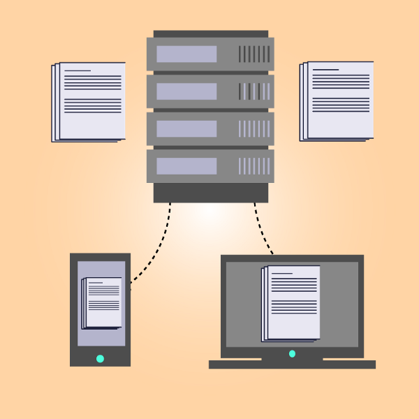 A graphic illustrating how the same data is cached on multiple devices
