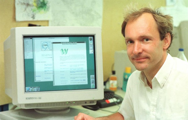 In 1989, Tim Berners-Lee, a scientist working at a research group called CERN in Switzerland had an idea for an easy way to look up and share almost any kind of information over the internet. The picture shows Mr. Berners-Lee in 1994, four years after he invented the WWW. (Source: ©1994, CERN.)