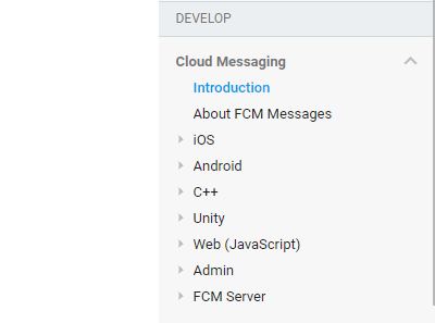 Cloud Messaging menu