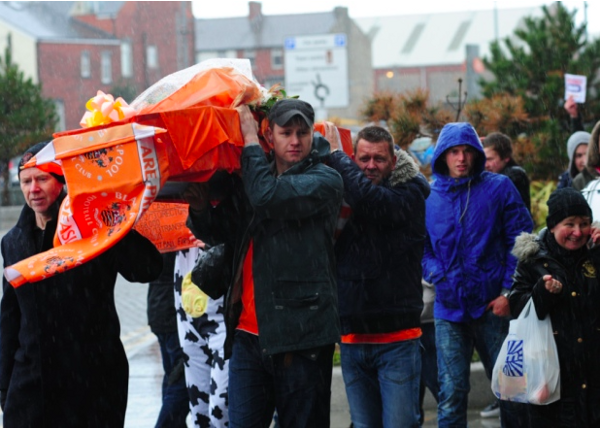 [In 2014](http://www.blackpoolgazette.co.uk/news/local/fans-stage-funeral-in-anti-oyston-rally-1-6518173) Blackpool fans recreated the coffin march from the 90s. Photo by Chris Vaughan/CameraSport