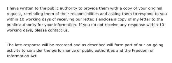 A snippet from the ICO mail confirming that they had chased Blackpool council for a response.