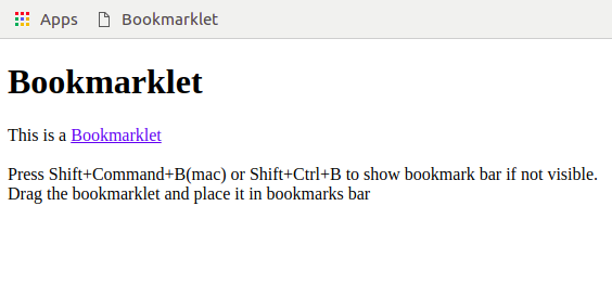 Alert Popup Bookmarklet- Chrome Extension
