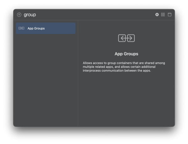 Select App Groups capability and clickEnter.