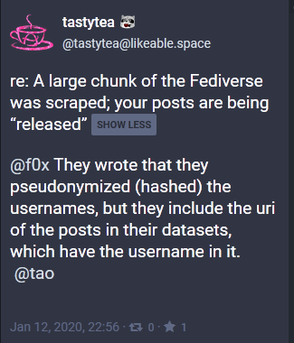 They wrote that they hashed the usernames, but included the URI of the posts in their database, which has the username in it.