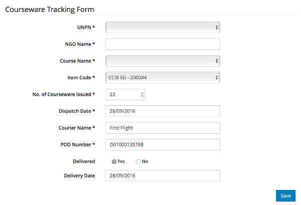 Financial Records—Revenue and Inventory- Courseware Tracking form