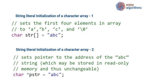 character array and character pointer code example in c++