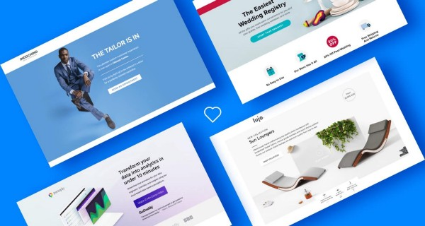a blue background with several different landing page examples