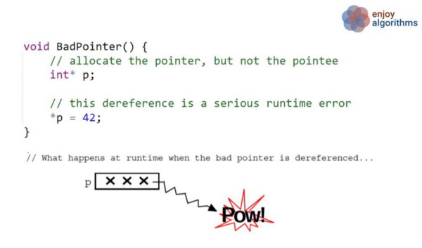 bad pointer code example in c++