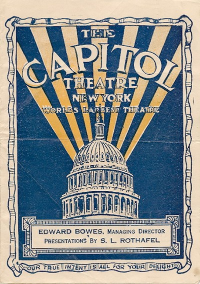Al Capital Theatre di New York si tenne la premiere del primo film prodotto dalla United Artists, His Majesty, the American, interpretato da Fairbanks. Nella illustrazione, la copertina di una brochure del 1920 che reclamizza il locale come il più grande del mondo.