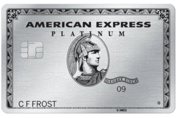 A front view of the American Express Platinum credit card.