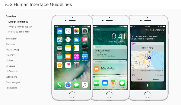Apple has the HIG   their Human Interface Guidelines  which outline  everything you need to know on how to design an iOS app. How to not suck at design  a 5 minute guide for the non designer