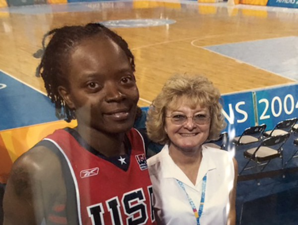 Pat with Shannon Johnson at the 2004 Summer Olympics in Athens, Greece