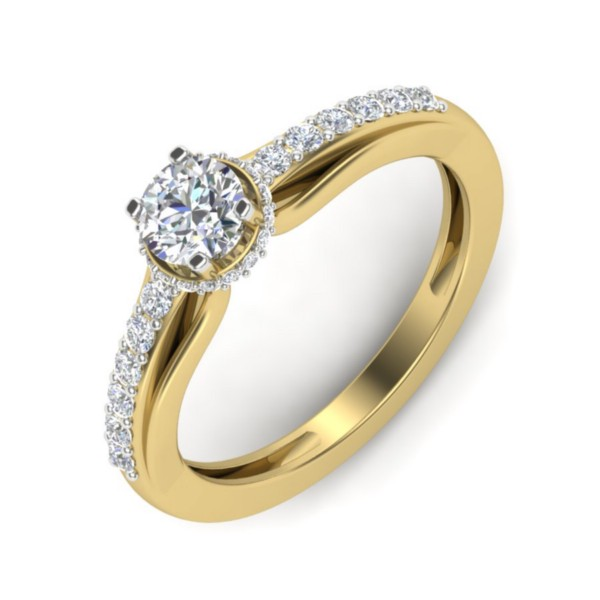 Set in 18k Yellow Gold (3.19 gm) with Solitaire (0.50 carats, IJ-SI) Diamond (0.43 carats, IJ-SI)