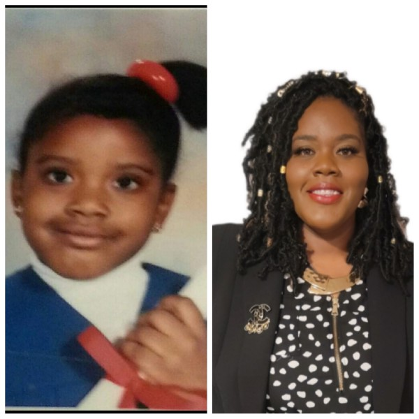 Two photos side by side. On the left, a picture of Josalyn Brown Robinson as a child graduating from North Tang Head Start program in Roseland, Louisiana. On the right, Josalyn today in her role as the Executive Director of Regina Coeli Child Development Center.