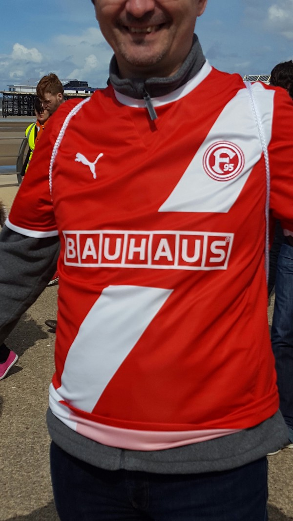 A Fortuna Dusseldorf fan on the march. Image author'sown.