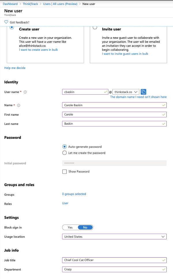 Adding a new user in Azure AD