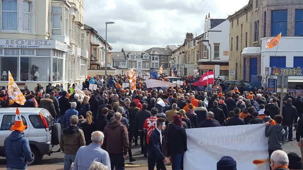 People on a protest march to Bloomfield Road. Image author'sown.