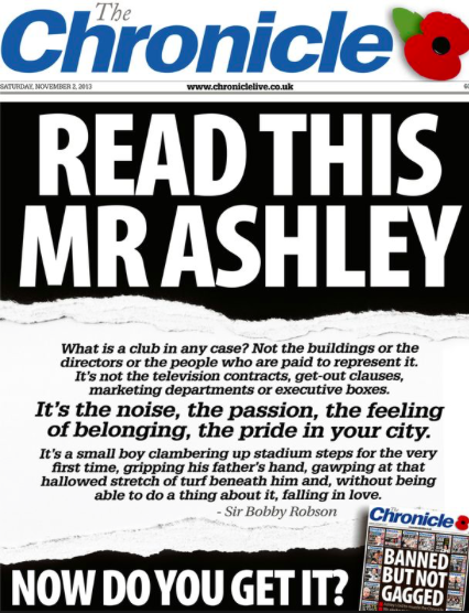 [Newcastle's Chronicle newspaper chose to take a firm stance against their club's owner, MikeAshley](http://www.chroniclelive.co.uk/sport/football/football-news/timeline-newcastle-united-ban-chronicle-6264659).