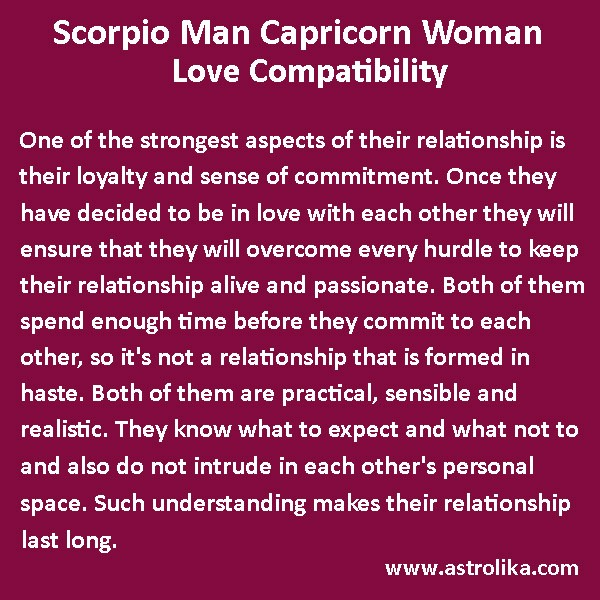 Capricorn woman and scorpio man