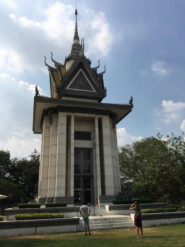 Killing Fields in Phnom Penh made in the memory of communal war victims of Cambodia