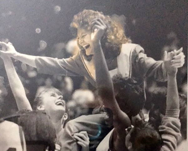 Pat with her Hartsville High School team after winning their first State Championship, 1986