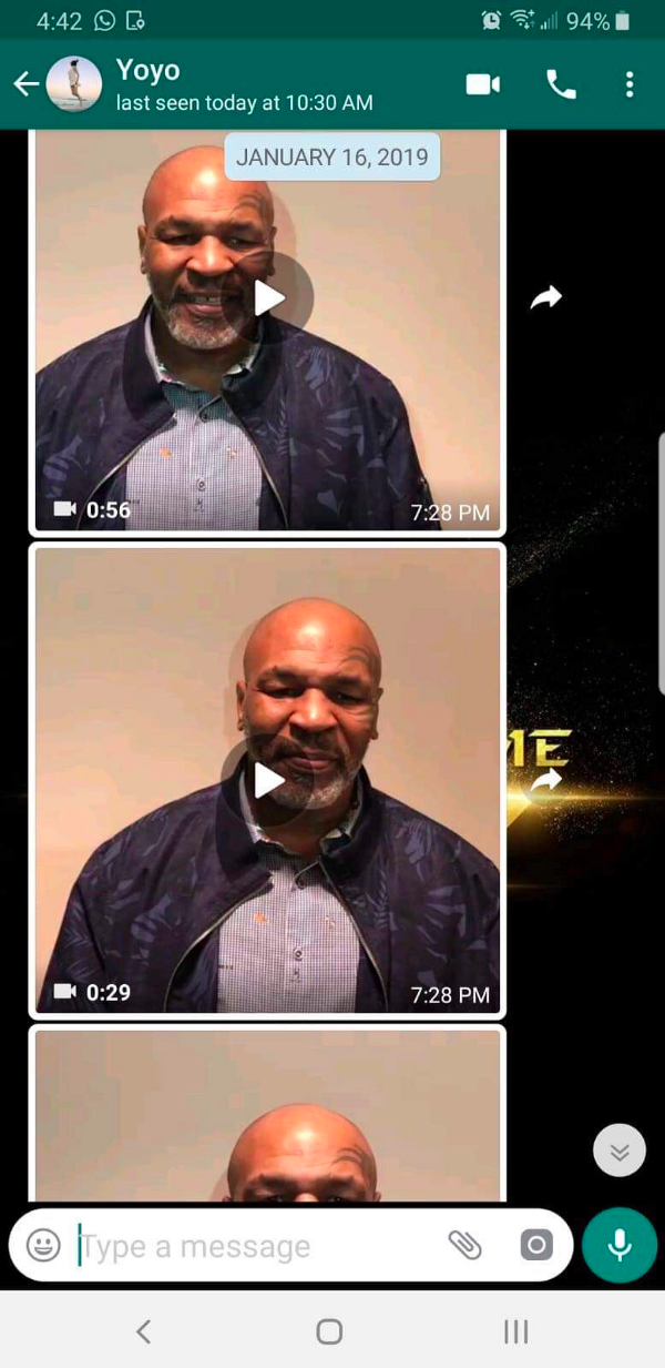 Screen Capture from Phone Used to Tape Mike Tyson Endorsement of Fight to Fame from January 16, 2019