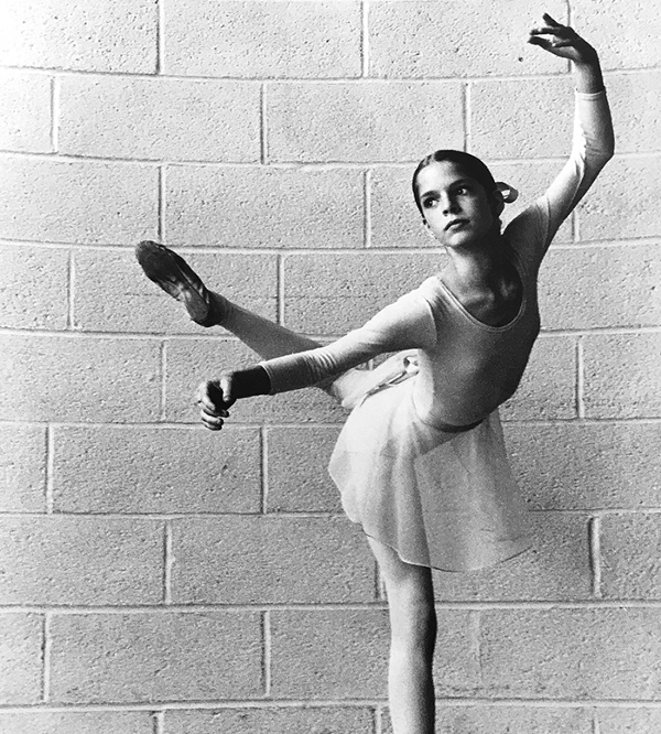 Bettina Michele at nine yearsold in a ballet tutu and pose