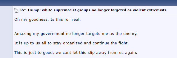 Stormfront: Amazing my government no longer targets me as an enemy. It's all up to us to stay organized and continue the fight. This is just to good; we can't let this slip away from us again