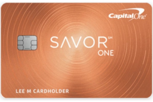 A front view of the CapitalOne SavorOne Cash Rewards credit card.