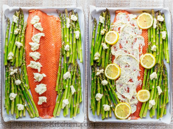 photo of pan of baked salmon and asparagus