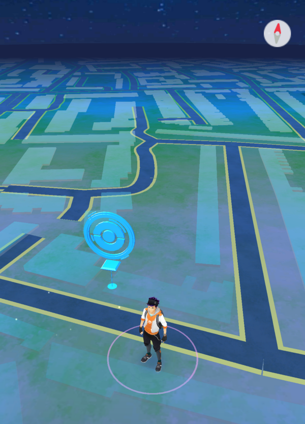 A sample Pokemon map, with a pokestop in the pub just across the road from myflat.