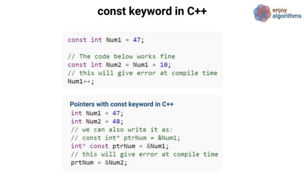 the const keyword in c++ code example