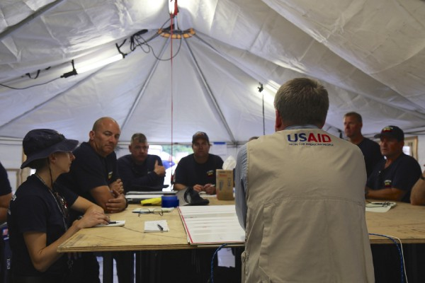USAID's USAR team sets up their Base of Operations and prepares to begin search and rescue missions.