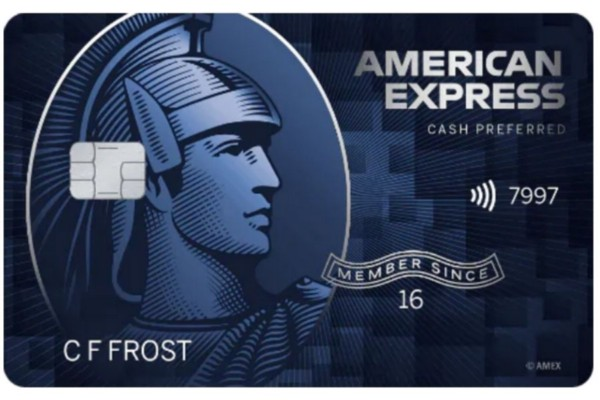 A front view of the American Express Blue Cash Preferred credit card.