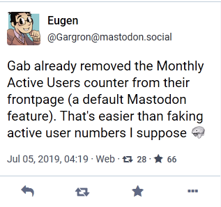 Gargron commenting on Active User count numbers being removed from Gab.