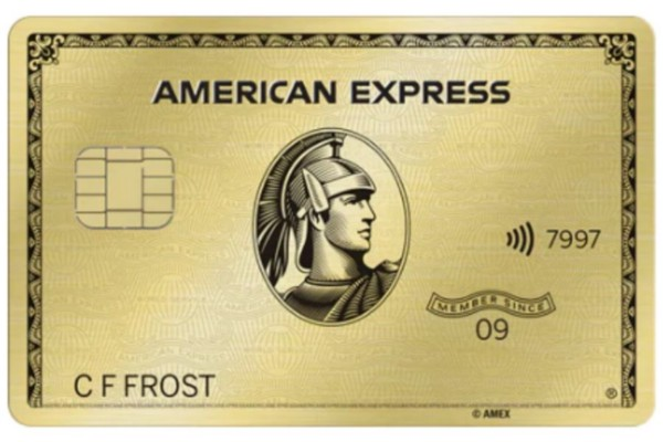 A front view of the American Express Gold credit card.