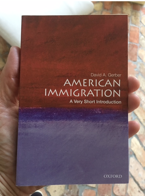 Person holding American Immigration book