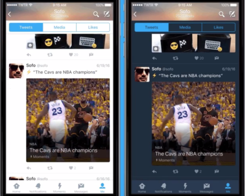 Night mode at right, allows users to tweet in the dark