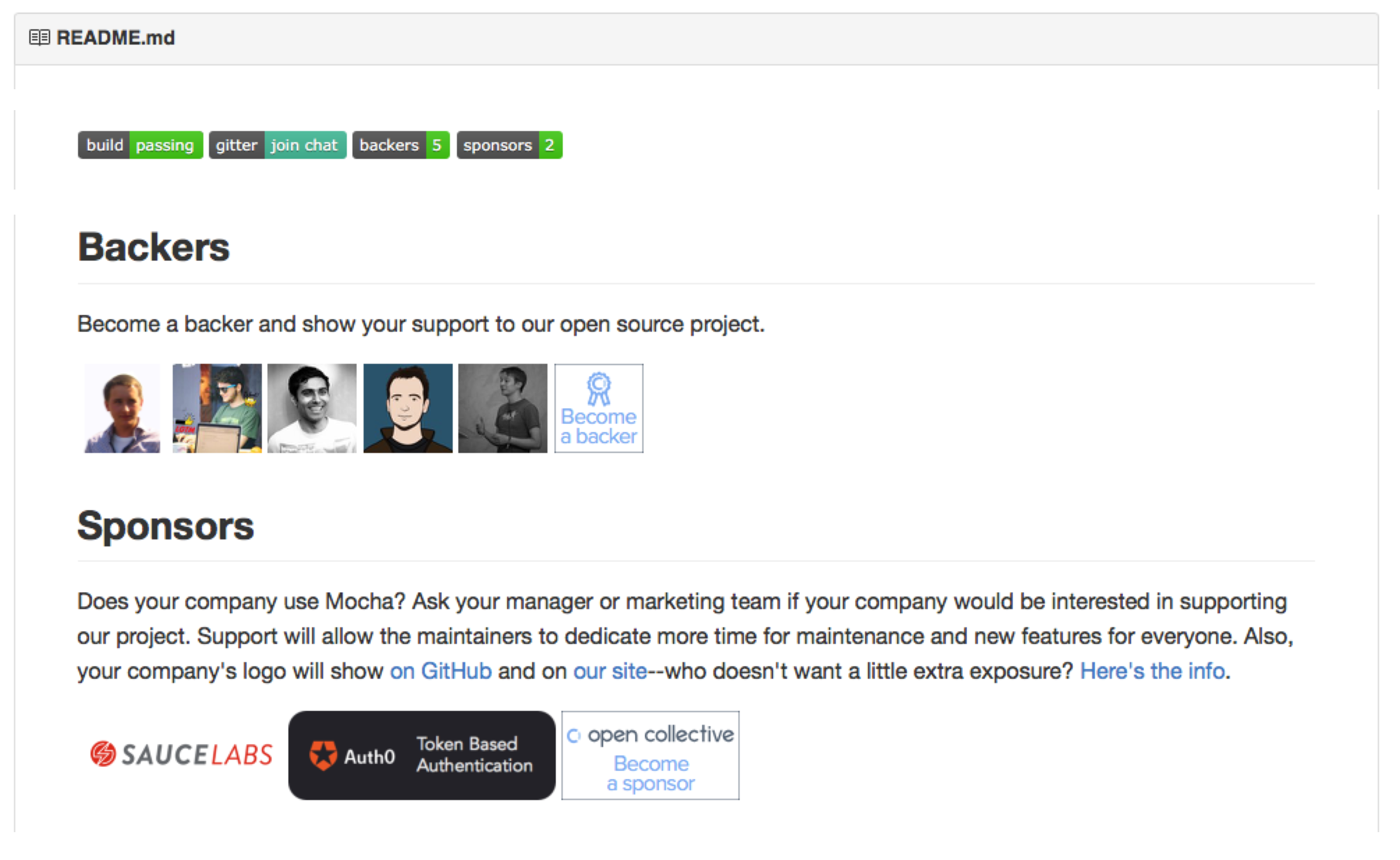 Integration of Open Collective in the README.md of the MochaJS repository (https://github.com/mochajs/mocha). It automatically acknowledges the backers and sponsors of the project.