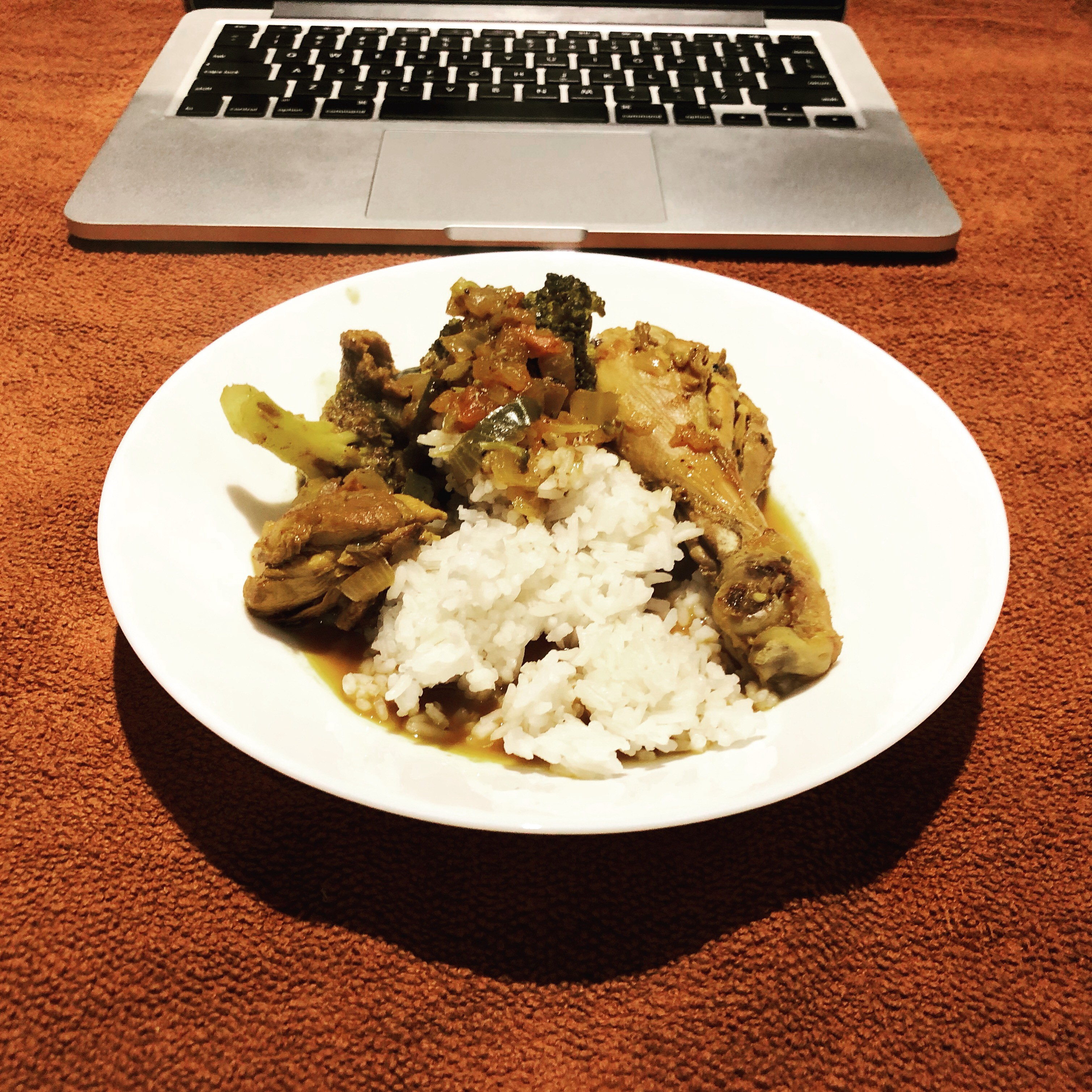 chicken curry (including broccolis) — also no need rice cooker, just boil and monitor
