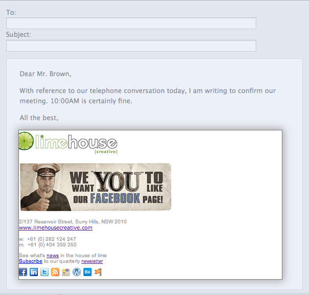 this email signature template can actually be found at httpbrandingwisestampcomemail signature forcreative