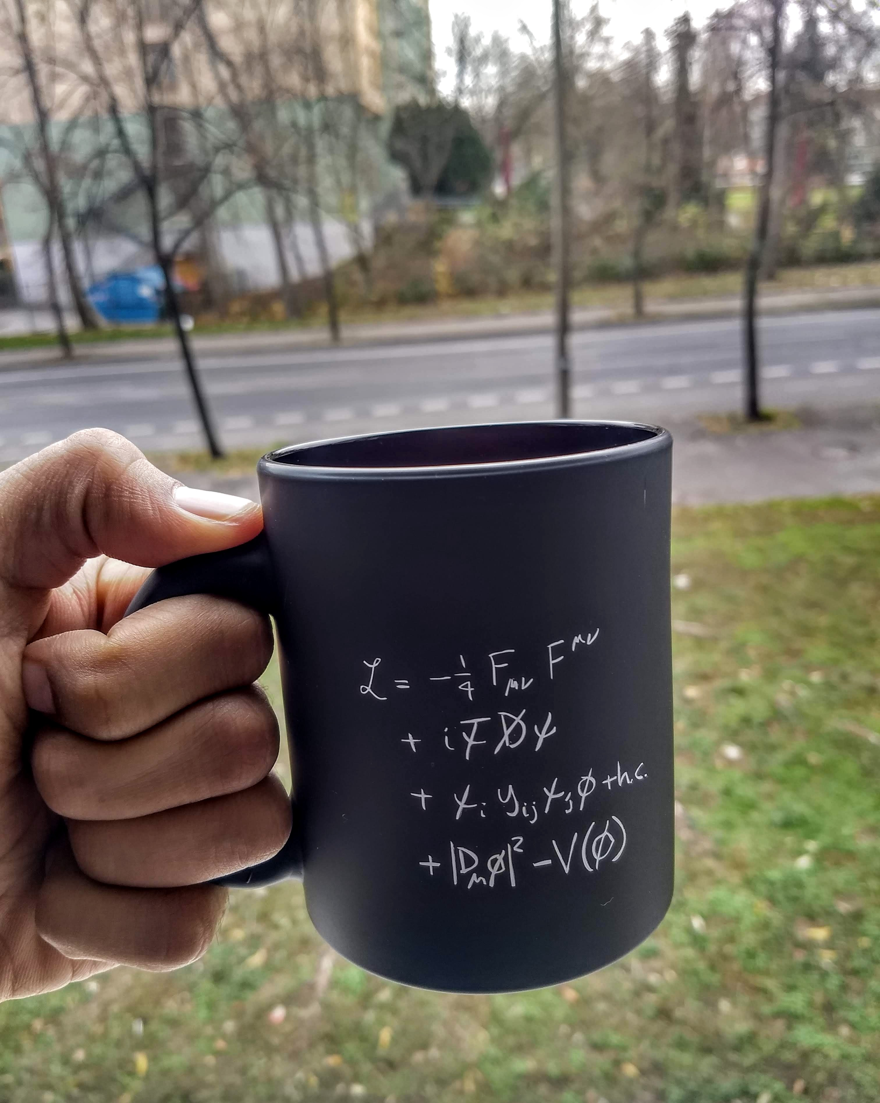 "My Coffee mug of ""The Standard Model"" and no, I don't drink coffee from it! (It's too precious for that!)"