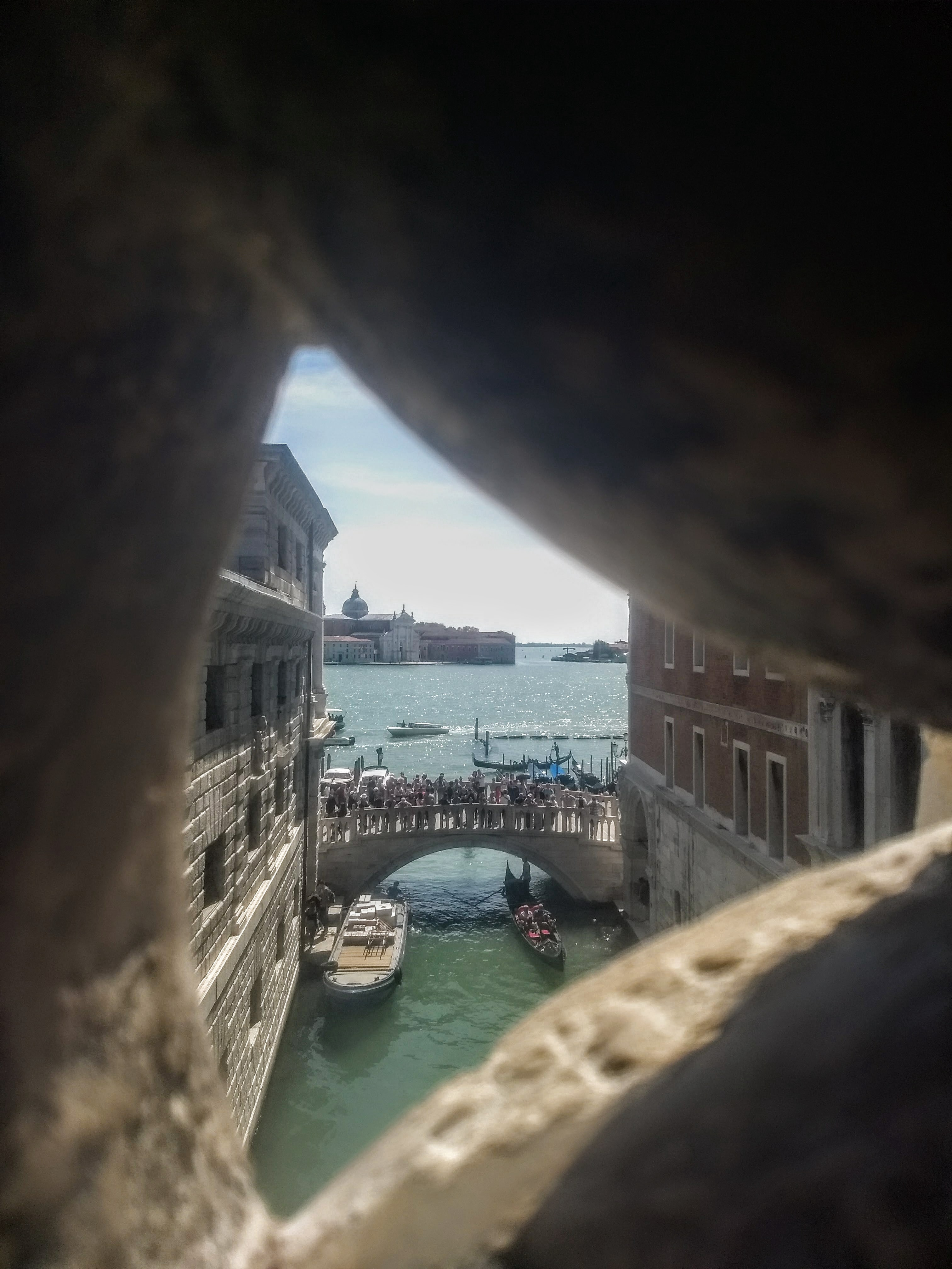 The Bridge of Sighs from outside (on left) and the view from inside the bridge (on right)!