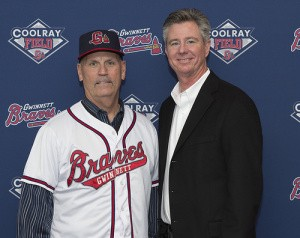 Manager Brian Snitker and GM North Johnson.  Photo credit: Chris Roughgarden. (For full press conference video-click photo.)