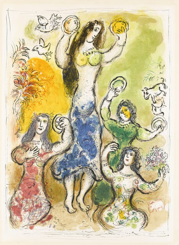 Yellow, green, blue & red stylized painting of women dancing holding flowers and tambourines.